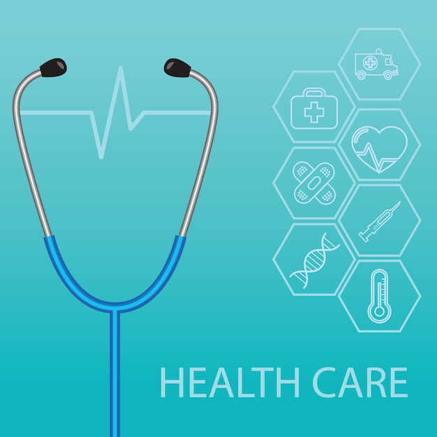 Stethoscope and heartbeat flat icons in medicine, medical, health, cross, healthcare decoration Premium Vector
