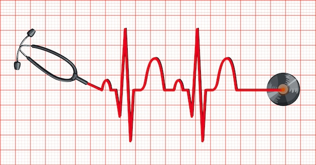 Stetoscopio e battiti cardiaci su carta millimetrata Vettore gratuito