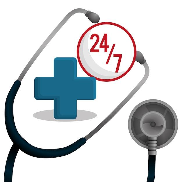 Stethoscope medical equipment service Premium Vector