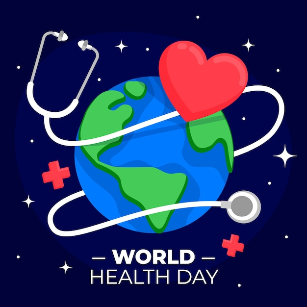 Stethoscope with heart and earth Free Vector