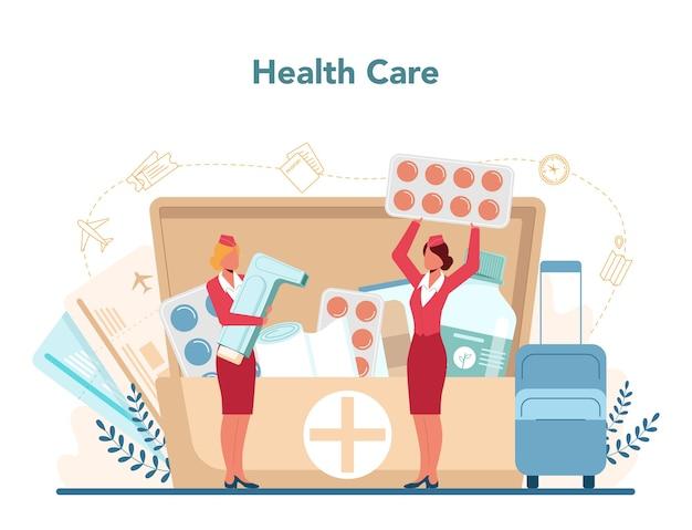 スチュワーデスヘルスケアサービス。美しい女性の客室乗務員が飛行機の乗客を助けます。 Premiumベクター