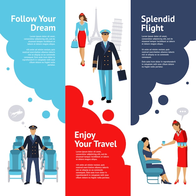 Stewardess and pilot banners set Free Vector