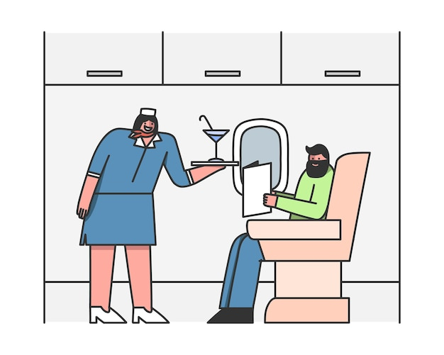 飛行機の乗客にサービスを提供するスチュワーデス客室乗務員が飲み物を提供 Premiumベクター