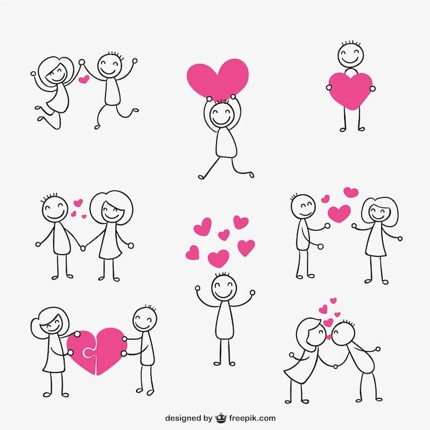 Stick figure couple in love Free Vector
