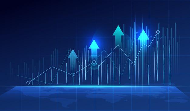 Бизнес свеча stick диаграмма graph на синем фоне. Premium векторы