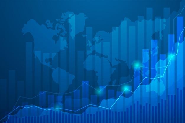 Бизнес свеча stick диаграмма graph фондового рынка, торговля на синем фоне. Premium векторы