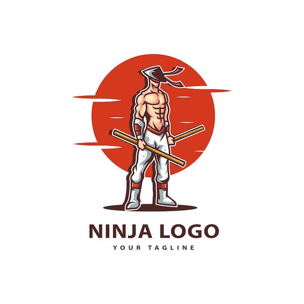 忍者のロゴを貼り付けます Premiumベクター