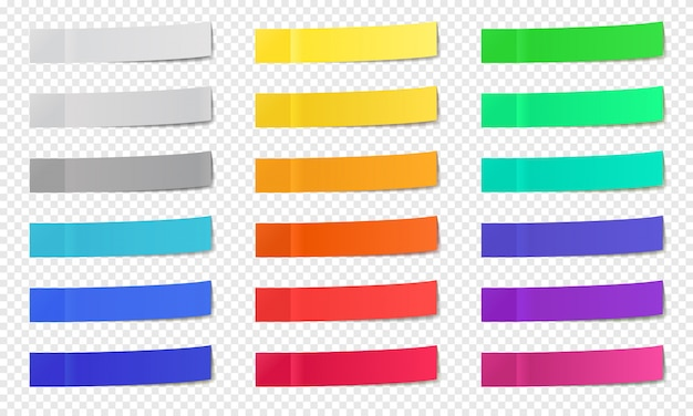 Stick paper notes. post note sticky tape, colorful post notes, memo paper post it notes, narrow office note sticks   icons set. memo office tape, empty adhesive page Premium Vector