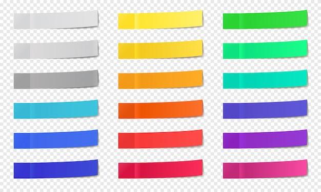 종이 노트를 붙입니다. 포스트 노트 스티커 테이프, 다채로운 포스트 노트, 메모 용지 포스트잇 노트, 좁은 사무실 노트 스틱 아이콘 세트. 메모 사무실 테이프, 빈 접착 페이지 프리미엄 벡터