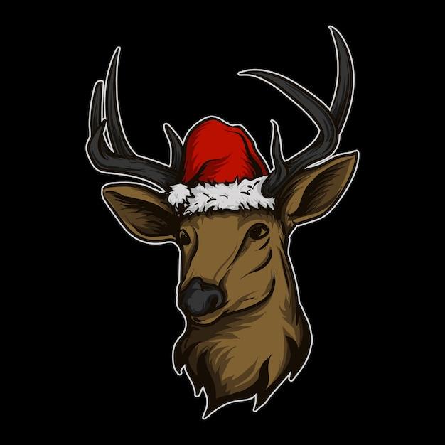 クリスマスの帽子とステッカーとtシャツのマスコットキャラクターロゴ鹿 Premiumベクター