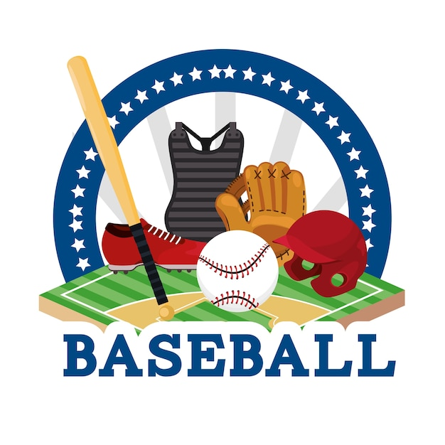 Наклейка бейсбольная спортивная игра с оборудованием Premium векторы