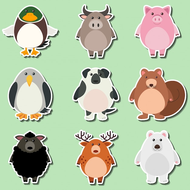 Sticker design for cute animals on green background Free Vector