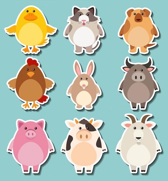 Sticker design for cute farm animals free vector
