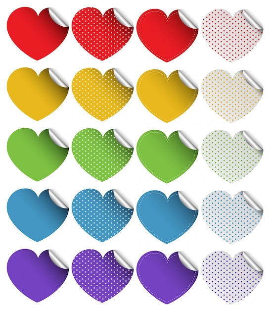 Sticker design in heart shapes free vector