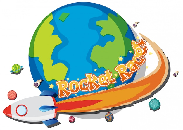 Sticker design for rocket racer with spaceship around the earth Premium Vector