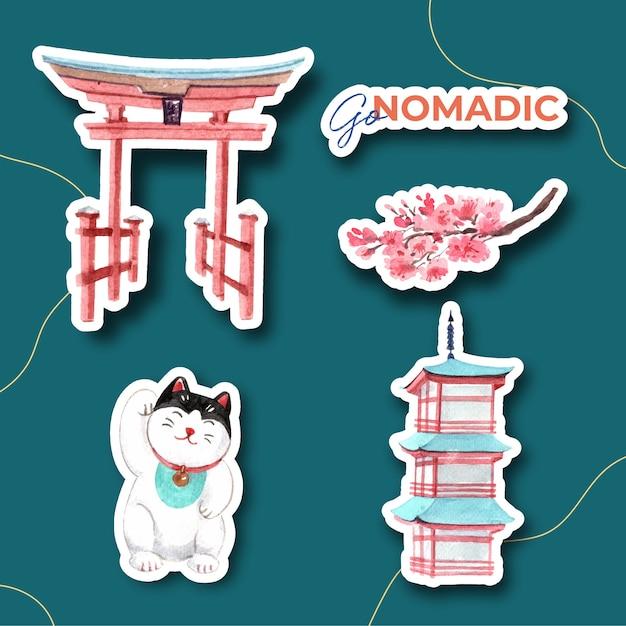 Дизайн наклейки с концепцией путешествия по азии для персонажа из мультфильма, изолированных акварель векторные иллюстрации Бесплатные векторы