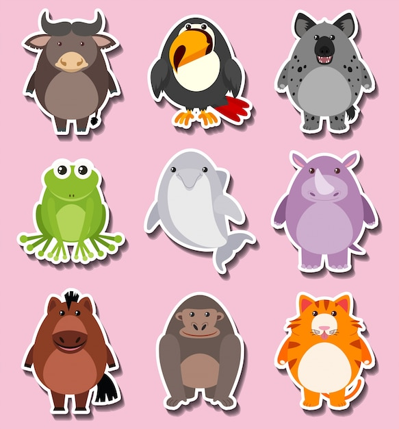 Sticker design with cute animal characters Vector | Free Download
