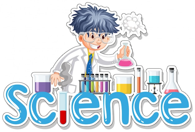 Sticker design with scientist doing experiment Free Vector
