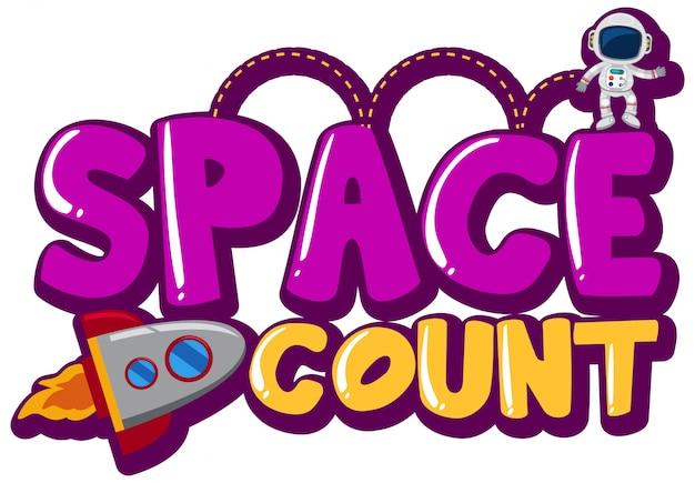 Sticker design with space theme on white Premium Vector