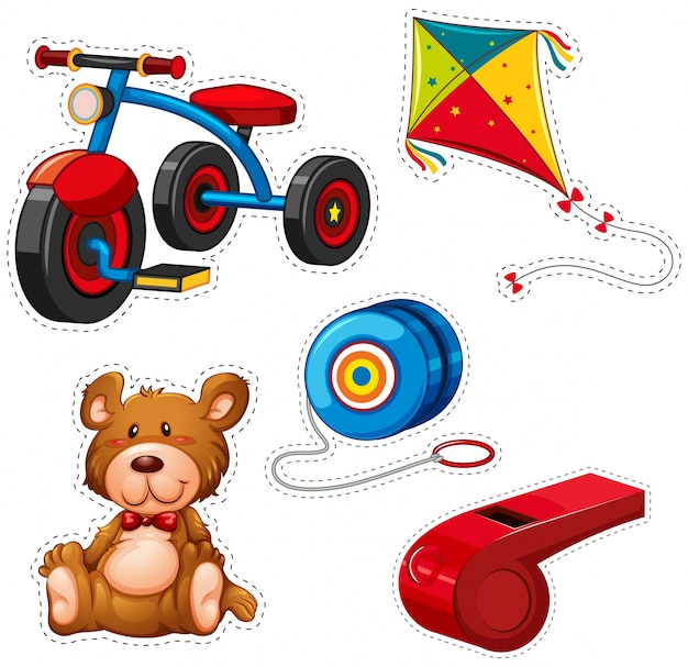 Sticker design with tricycle and other toys Premium Vector