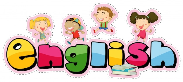 Sticker design for word english with happy kids Free Vector