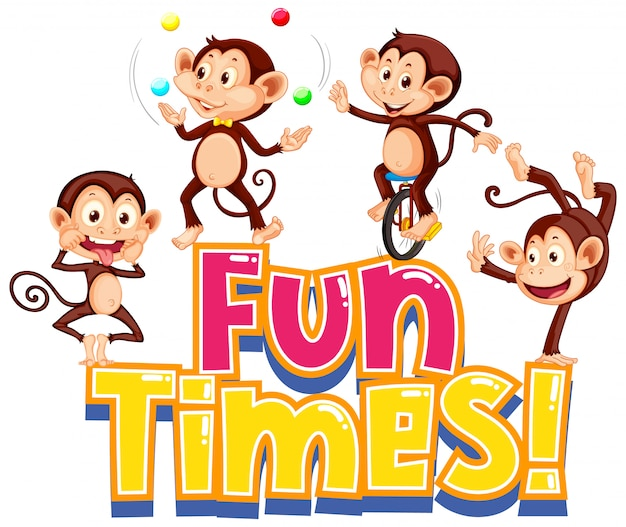 Sticker design for word fun times with cute monkeys Free Vector