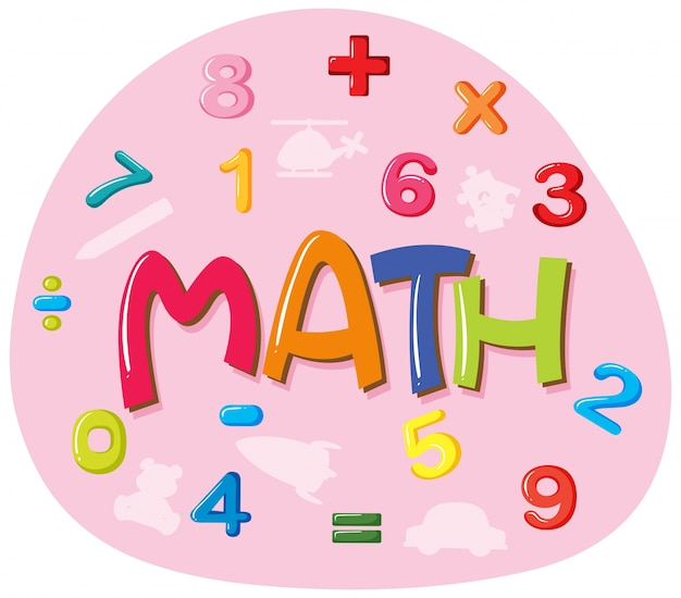 Sticker design for word math Vector | Free Download
