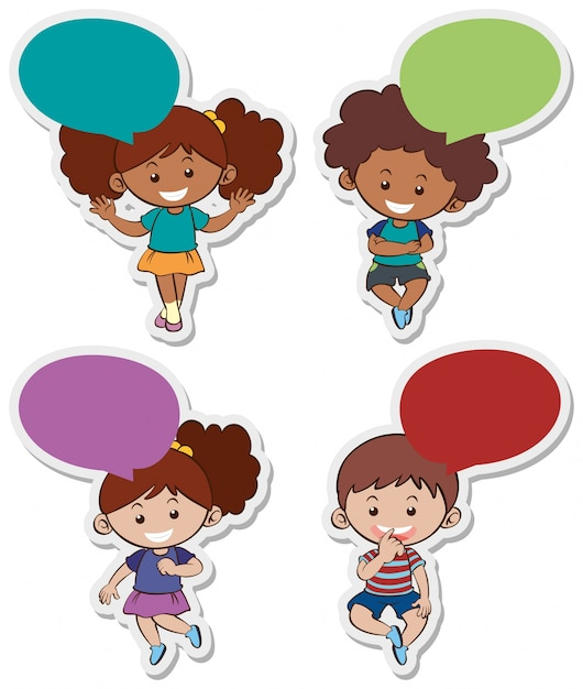 sticker designs with cute boys and girls vector free download