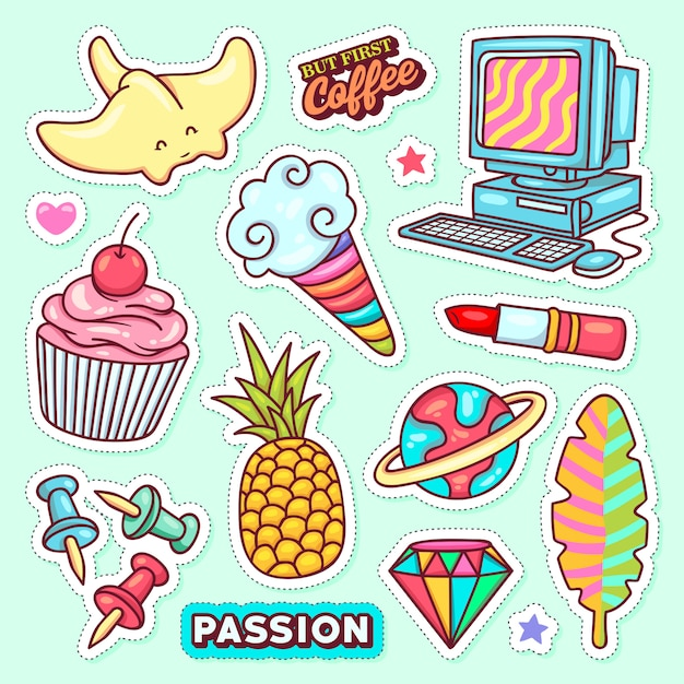 Sticker icons hand drawn doodle Free Vector
