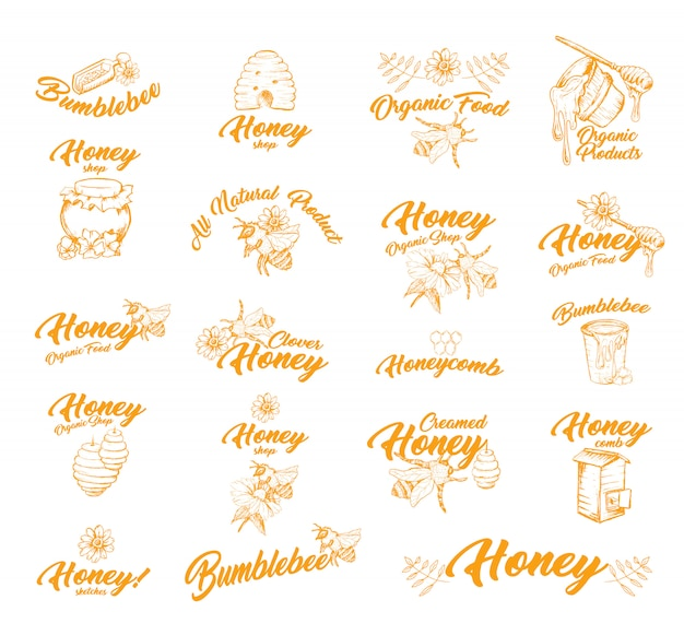 Sticker or labels with bees for honey container Free Vector