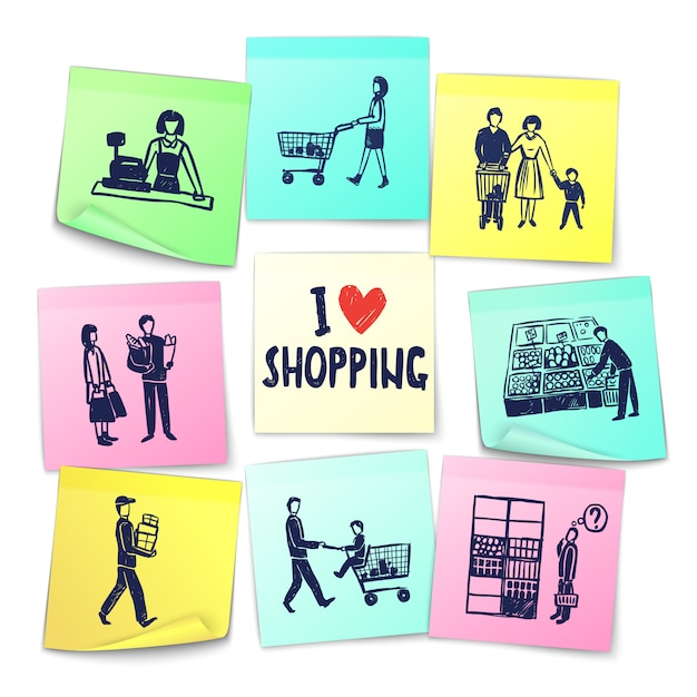 Sticker note style supermarket cards Free Vector