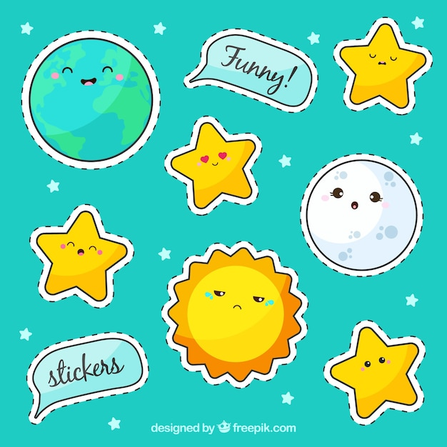 Sticker pack with stars Free Vector