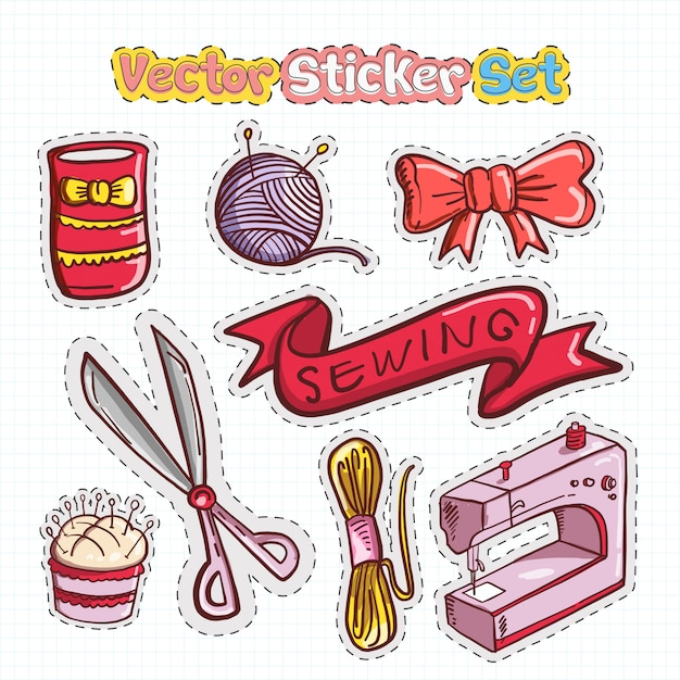 Sticker patches set of sewing icon Premium Vector