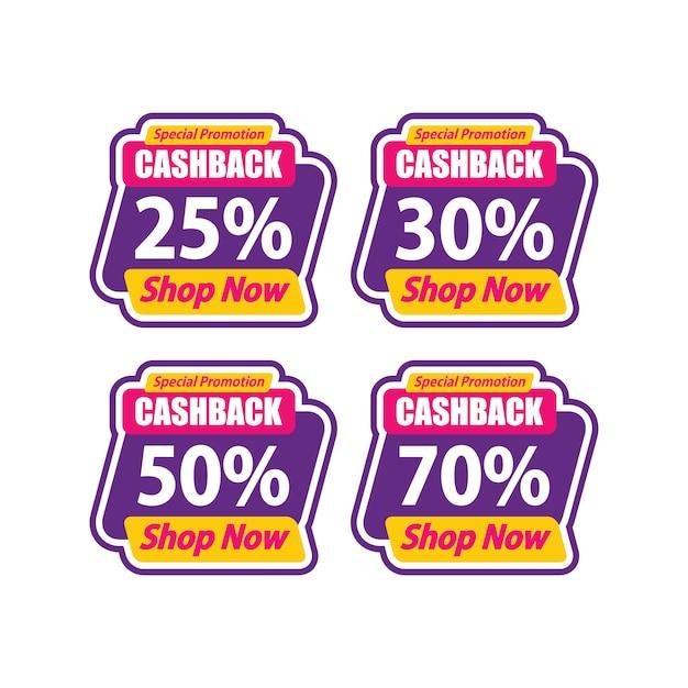 Sticker sale promotion template special cashback Premium Vector