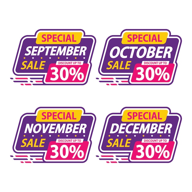 Sticker sale special monthly promotion september discount Premium Vector