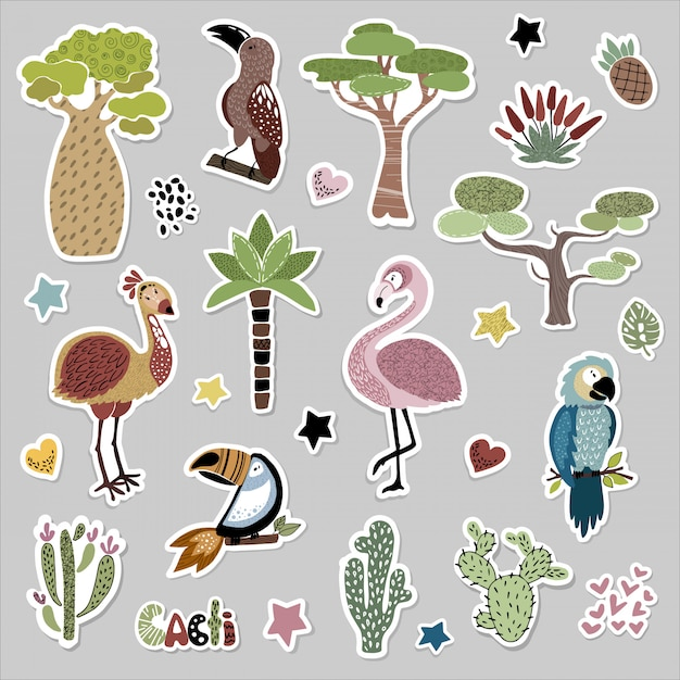Sticker set with cute african birds and plants Premium Vector