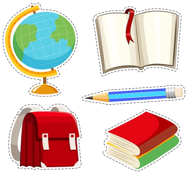 Sticker set with different stationaries illustration Free Vector