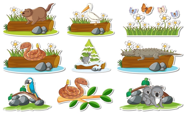 Free Vector Sticker Set With Different Wild Animals And Nature Elements