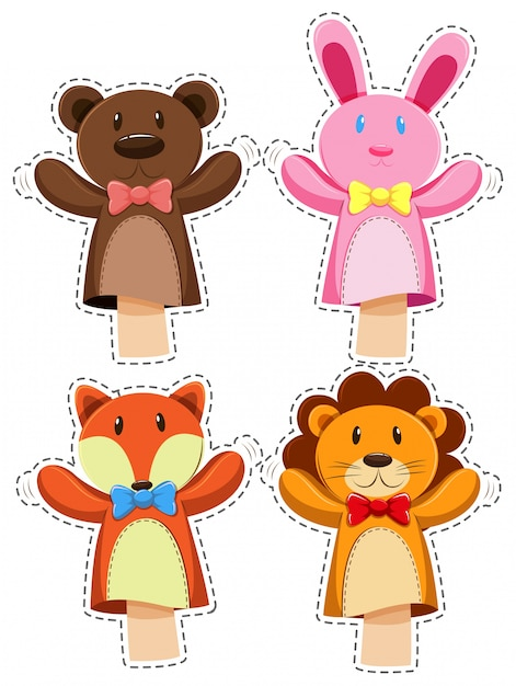 Sticker set with hand puppets illustration Free Vector