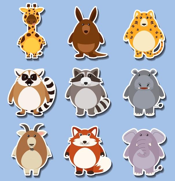Sticker set with many animals on blue