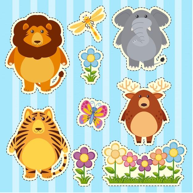 Sticker set with wild animals on blue background