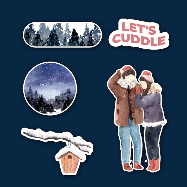 Sticker template with winter love concept design for character cartoon isolated watercolor vector illustration Free Vector