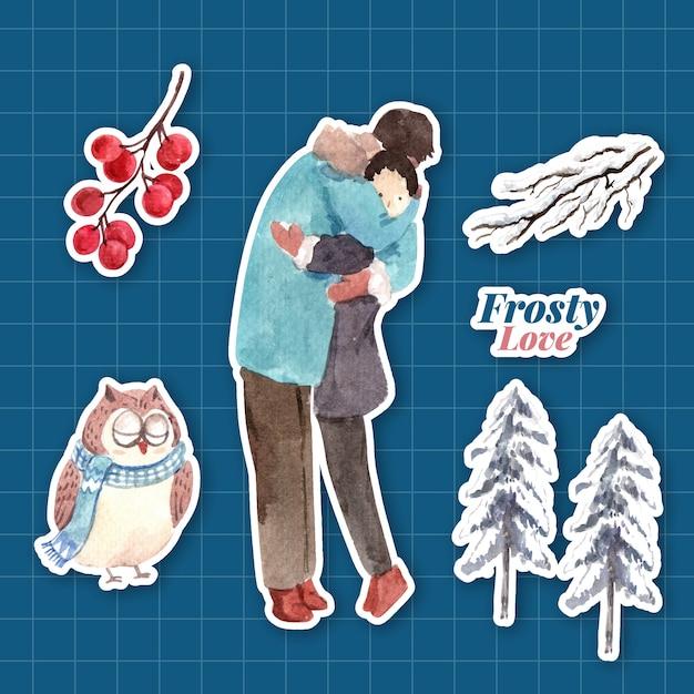 캐릭터 만화 절연 수채화 벡터 일러스트 레이 션에 대 한 겨울 사랑 컨셉 디자인 스티커 템플릿 무료 벡터
