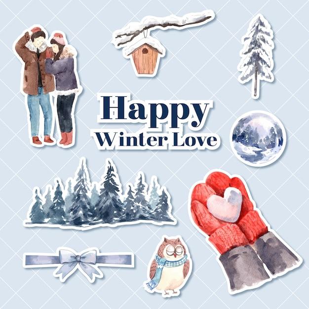 Шаблон наклейки с зимней любовной концепцией для персонажа из мультфильма, изолированных акварель векторных иллюстраций Бесплатные векторы