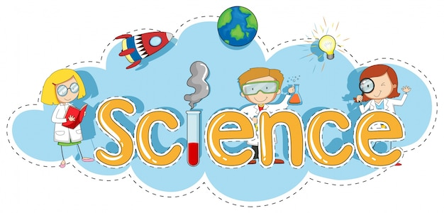 Sticker template for word science Free Vector