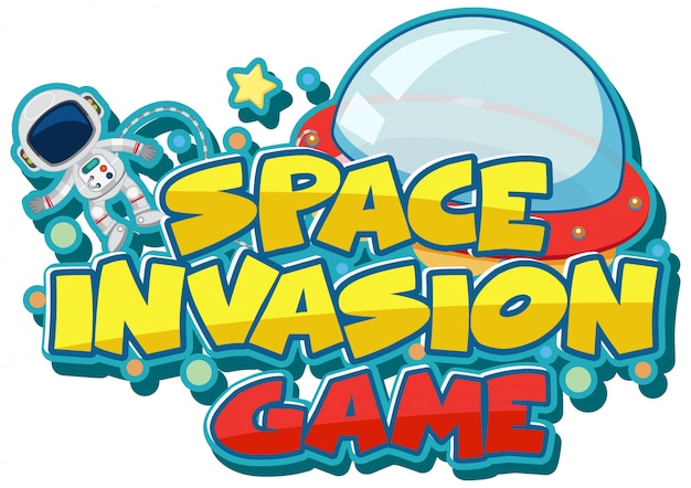 Sticker template for word space invasion game Premium Vector
