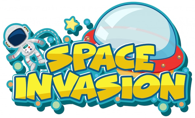 Sticker template for word space invasion with astronaut and ufo Premium Vector