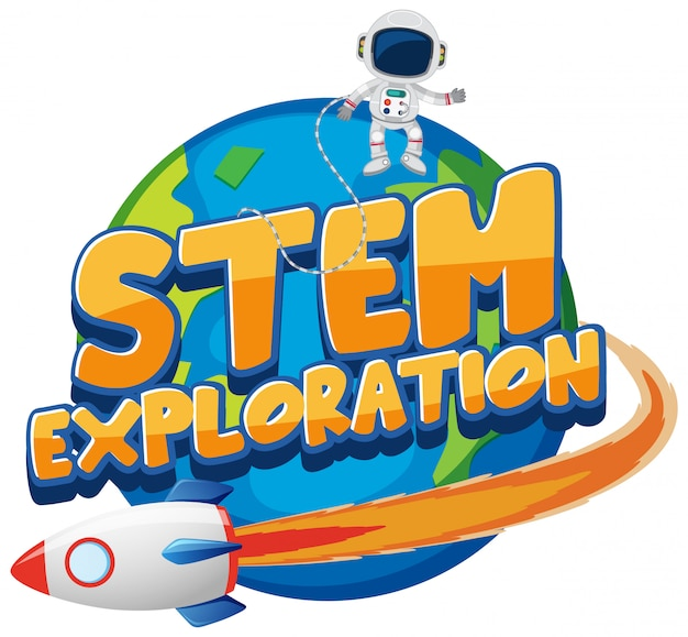 Sticker template for word stem exploration with astronaut on earth Premium Vector