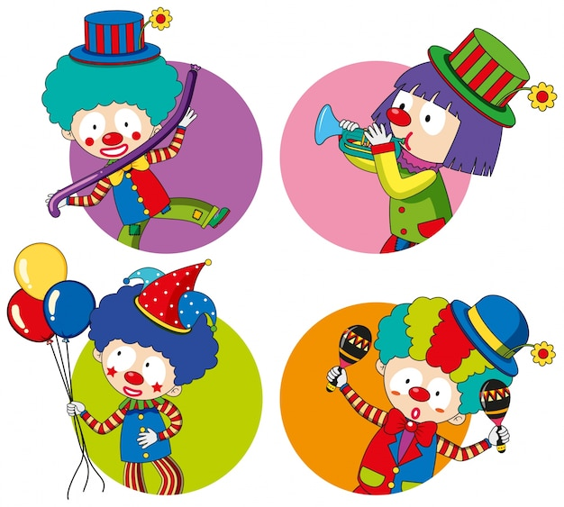 Sticker templates with happy clowns Free Vector