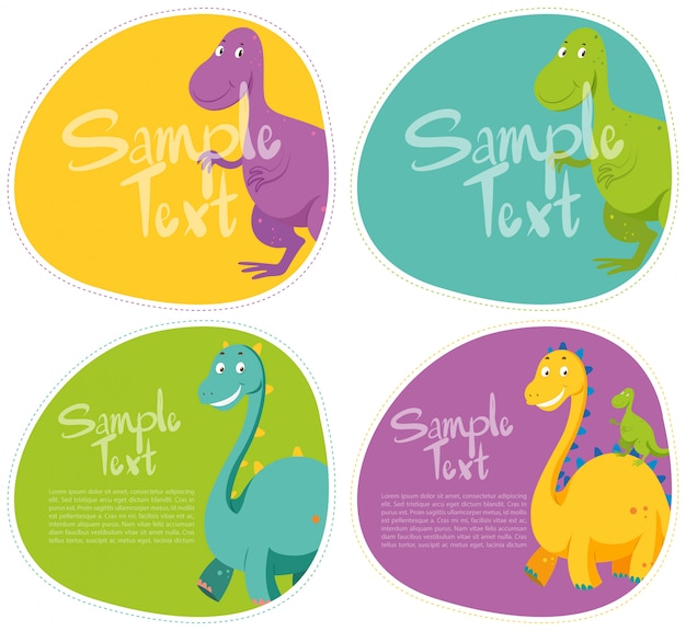 Sticker with cute dinosaur Free Vector